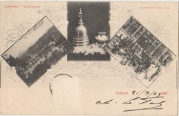 CPA SRI LANKA CEYLAN CEYLON Greetings From 3 Views Dent De Boudha 1903 - Sri Lanka (Ceylon)