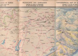 C1162 - CARTINA IST.GEOGRAFICO DE AGOSTINI 1933 - PANORAMICA DEL LAGO DI GARDA - DIS.LUIGI PIZZINI/CARTA/MAP - Topographical Maps