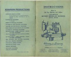 Adamson Button Sewing-On Machines Style 135/142 - Vieux Papiers