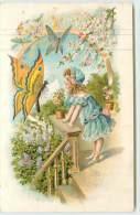 PETITE FILLE ET PAPILLON  - Bon Anniversaire.(carte Gaufrée) - Papillons