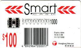 HONG KONG CHIP CARD SMART 100$ SC7 VALID 31.12.98 UT - Hong Kong