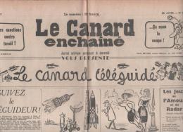LE CANARD ENCHAINE 20 FEVRIER 1957 - TELEGUIDAGE - ALGERIE - ECOUTES TELEPHONIQUES - ZIZI JEANMAIRE - - 1950 - Oggi