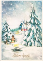 BONNE ANNEE - Paysage Enneigée Avec 3 Maisons Et Sapins Couverts De Neige - Non Circulée - - Nouvel An