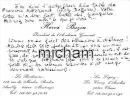 N° 1179   LETTRE   SUR    CARTON   BONNE SIGNATURE  DE   HERVE BAZIN  15X10 - Autographes