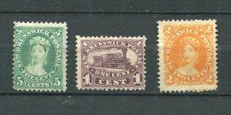 New Brunswick 1860-3 Sc 6-8 MH  Cv $100 - Unused Stamps