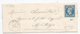 - Lettre - YONNE - BLENEAU PC.412 S/TPND N°14Bb - Type II - 1862 -  RR - 1853-1860 Napoléon III.