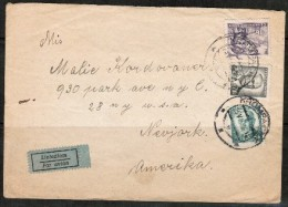 "CZECHOSLOVAKIA     1948  Airmail Cover To New York, U.S.A. (Written ""Nevjork"") (25/VI/48) (OS-408) - Czechoslovakia"