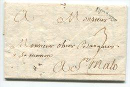 """RENNES (lenain N°4) + """"3""""/ Lettre  Pour St Malo - Marcophilie (Lettres)"""