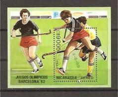 Nicaragua - Foglietto Usato: Olimpiadi Di Barcellona 1992 - Hockey (su Erba)