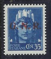 ITALIA REGNO ITALY KINGDOM 1944 REPUBBLICA SOCIALE ITALIANA RSI GNR CENT. 35 MNH OTTIMA CENTRATURA SIGNED FIRMATO - 4. 1944-45 Repubblica Sociale