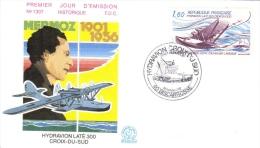 France  -  Jean Mermoz  -  Hydravion Laté 300  ´Croix-du-Sud´  -  FDC  -  Premier Jour D\´Emission - Vliegtuigen