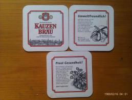Lote 3 Posavasos Cerveza Kauzen Brau. Alemania. - Bierviltjes