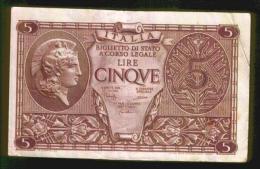 BIGLIETTO DI STATO ITALIA DA 5 LIRE - [ 1] …-1946 : Kingdom