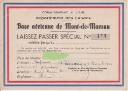 BASE AERIENNE DE MONT DE MARSAN-LAISSEZ-PASSER SPECIAL-1944
