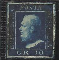 ANTICHI STATI ITALIANI ASI 1859 SICILIA 10 GRANA AZZURRO CUPO ANNULLATO USED - Sicilia
