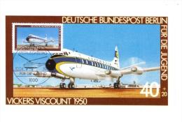 Deutsche Bundespost Maximum Card  -  Vickers Viscount   -  1950  -  Premier Jour - Aerei