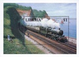 G)1994 LIBERIA, STEAM LOCOMOTIVE-RAILWAY-TRAIN-TRANSPORT-SEA-MOUNTAIN, MAN, WOMAN, CHILD AND DOG, S/S, MNH - Liberia