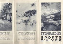 DEPLIANT- SPORS D'HIVER-  COMBLOUX  - En 3 Volets- Nov. 1930 - Non Classés