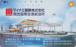 TC Japon / 221-445 - Essence Pétrole SHELL Station Service & Avion - Oil Tank Japan Phonecard - Benzin Tankstelle - 56 - Petrole