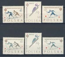 BL1-50 POLAND 1962 YV 1157-1162 SPORT, WORLD CHAMPIONSHIP SKIING ZAKOPANE, LANGLAUFEN, MNH, POSTFRIS, NEUF**. - Skisport