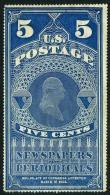 US PR4a Mint No Gum 5c Washington On Yellowish Paper Newspaper Stamp 1865 - Newspaper & Periodical