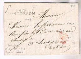 MANCHE MARQUE P48P PONTORSON 1825 LETTRE COTE 160€ / CHARTRES EURE ET LOIRE - Marcophilie (Lettres)