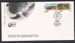 INDIA, 2000, FDC, Millipex , National Philatelic Exhibition, Bhubaneshwar, Endangered Species, Turtles, Bhopal Cancelled - FDC