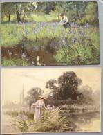 Lot 2x Chromo Illustrateur MULLER Rehn & Linzen Et Meissner Femme Cueillant Iris Voyagé 1917 Timbre Cachet Neuderrod - Mueller, Richard