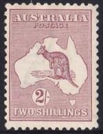 Australia 1924 Kangaroo 2 Shillings Maroon 3rd Wmk MH  - Variety 38(U)i - 1913-48 Kangaroos
