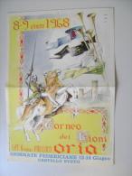 1968  ORIA BRINDISI   PRO LOCO TORNEO DEI RIONI  GIORNATE FEDERICIANE CASTLE  SVEVO  MEDIOEVO TIP. FAVIA BARI  VOLANTINO - Manifesti