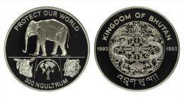 """AG00004 Bhutan 1993, 300 Ngultrum, 1 éléphant """"protect Our World"""", Silver 9250. Ag  31 G - Bhoutan"""