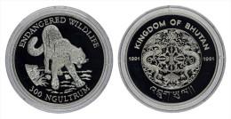 """AG00005 Bhutan 1991, 300 Ngultrum, 1 Tigre """"endangered Wildlife"""", Silver 9250. Ag 31 G - Bhoutan"""