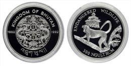 """AG00006 Bhutan 1992, 300 Ngultrum, 1 Singe """"endangered Wildlife"""", Silver 9250. Ag 31 G - Bhoutan"""