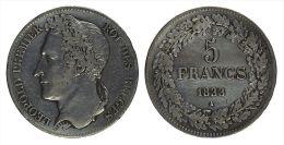 AG00008 5 Francs De 1833, Léopold I, Argent, 24 G. - Royal / Of Nobility