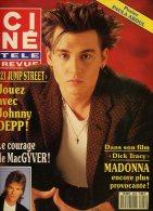 Ciné Télé Revue 9028 Macgyver Madonna Michele Lee Dean Martin Luis Mariano Susan Dey Johnny Depp Pierre Etaix - Cinéma