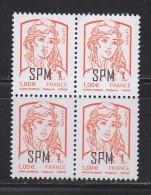 = Marianne Et La Jeunesse 1.00€ En Bloc De 4, Saint Pierre Et Miquelon, Surcharge SPM N°1087 - Neufs