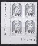 Marianne Et La Jeunesse Ecopli (0.56€) En Bloc De 4 Coin Daté 10.07.13 TD205 4006283 - St.Pierre Et Miquelon