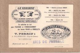 PUY DE DÔME - OLLIERGUES - CARTE DE VISITE - LA VEAUDINE - LA POULETTINE - VICTOR PERRIN - 120 X 80 Mm - Visiting Cards