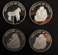 M00867 Uganda 2002, 1000 Shillings, Série De 4, Gorillas Of Africa, 29 G. Each - Oeganda