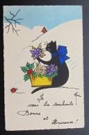 Chat Bonne Année  1932 - Gatos