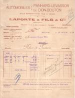 HAUTE GARONNE - TOULOUSE - AUTOMOBILES PANHARD LEVASSOR , DE DION BOUTON - LAPORTE & FILS & CIE - RELEVE - 1910 - Cars