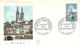 Env Fdc France 28/5/66 Niort, N°1485, Congrès De La Fédération Des Sociétés Philatéliques à Niort, Cathédrale St André - 1960-1969