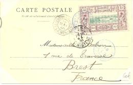 LBL20/3 - DJIBOUTI 15c S/ CPA VOYAGEE DJIBOUTI / BREST 14/5/1901 OBL MARITIME LA REUNION A MARSEILLE L.V. N°4 - Marcophilie (Lettres)