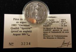 AG00895 Monnaie De Paris, 100 F., Argent 999, 1985, Germinal, N°3234, 15 G., 31 Mm, Boite D´origine - N. 100 Francs