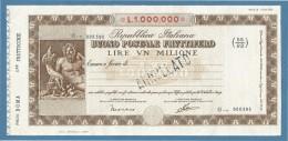INTERO POSTALE BUONO POSTALE FRUTTIFERO   LIRE  UN MILIONE - 6. 1946-.. Repubblica