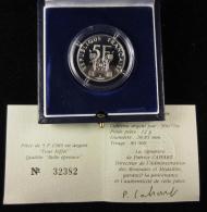 AG00897 Monnaie De Paris, 5 F., Tour Eiffel, 1989, N°32382, Argent 900, 12 G., 28 Mm, Boite D´origine - France