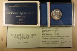 AG00900 Monnaie De Paris, 100 F., 1984, Marie Curie, Argent 900, N°10503, 15 G., 31 Mm, Boite D´origine - N. 100 Francs