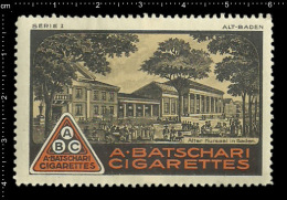 Old Original German Poster Stamp Cinderella Reklamemarke - A. Batschari Cigarette Old Baden Tobacco Zigarette Tabak - Tobacco