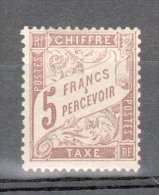 RARE: TIMBRE TAXE TYPE BANDEROLLE 5F MARRON N° Y & T 27 NEUF* - TIMBRE SIGNE - 1859-1955 Mint/hinged