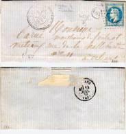 NOUAN LE FUZELIER (41) Lettre Avec GC 4575 Sur  Yvert  29  (Indice 8) OR Dans Cercle (61866) - 1849-1876: Klassieke Periode